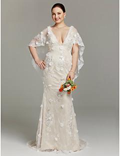 LAN TING BRIDE Tubinho Vestido de casamento - Glamoroso & Dramático Cintilante e Brilhante Renda Floral Cauda Escova Decote V Renda com