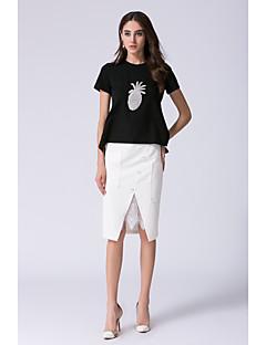Damen Druck Frucht Zerzaust Röcke Büro Alltagskleidung Formal T-Shirt-Ärmel Rock Anzüge,Rundhalsausschnitt Sommer KurzarmSpitze Rüsche