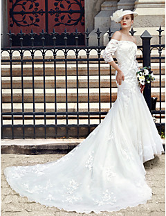 LAN TING BRIDE 트럼펫 / 머메이드 웨딩 드레스 - 시크&모던 오픈백 성당 트레인 레이스 튤 와 아플리케 단추