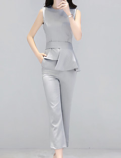 Feminino Terno Calça Conjuntos Casual Simples Verão,Sólido Decote Redondo Sem Manga Inelástico