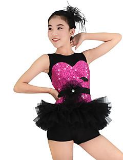Roupas de Dança para Crianças Vestidos Mulheres Crianças Actuação Poliéster Renda Organza Lantejoulas Licra Frufru Sem Mangas Caído