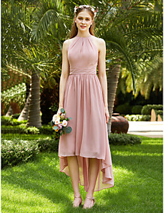 2017 LAN TING BRIDE Asymmetrical Jewel Bridesmaid Dress - Open Back Elegant Sleeveless Chiffon
