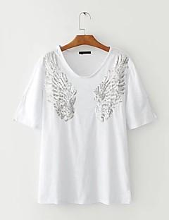 Feminino Camiseta Feriado Para Noite Casual Sensual Simples Moda de Rua Verão Outono,Estampado Estampa AnimalAlgodão Acrílico Poliéster