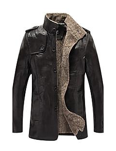 メンズ 日常 カジュアル 秋 冬 レザージャケット,ヴィンテージ カジュアル スタンド ソリッド レギュラー ポリウレタン 長袖