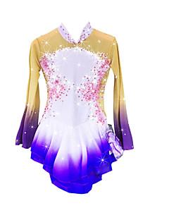 Műkorcsolya ruha Női Lány Hosszú ujj Korcsolyázás Szoknyák Ruhák Nagy rugalmasságú Műkorcsolya ruha Melegen tartani Kézzel készített