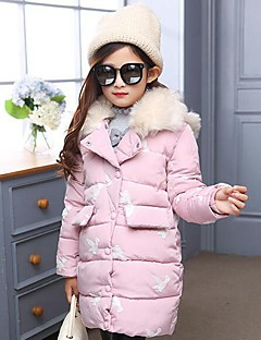 Genç Kız Pamuklu Polyester Hayvan Desenli Kış Uzun Kol Şişme ve Pamuk Pedli