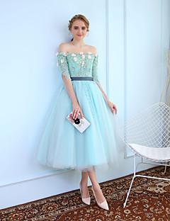 ボールガウン プリンセス セミロング丈 チュール カクテルパーティー ドレス とともに ビーズ レース 〜によって MMHY