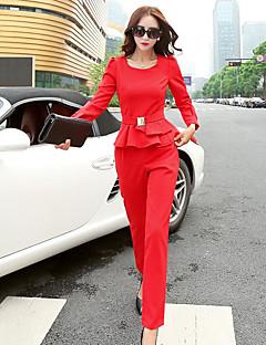 Feminino Camisa Calça Conjuntos Bandagem Trabalho Sensual Outono Primavera,Sólido Decote Redondo Manga Longa Micro-Elástica