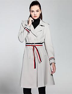 여성 솔리드 프린트 셔츠 카라 긴 소매 트렌치 코트,단순한 캐쥬얼/데일리 짧은 폴리에스테르 가을