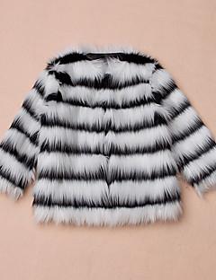 ז'קט ומעיל דמוי פרווה Special Fur Types חורף שרוול ארוך פסים בנות