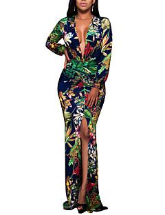 Γυναικείο Πάρτι Κλαμπ Μεγάλα Μεγέθη Σέξι Βίντατζ Μπόχο Εφαρμοστό Φόρεμα,Φλοράλ Μακρυμάνικο Βαθύ V Μακρύ Πολυεστέρας Άνοιξη Φθινόπωρο