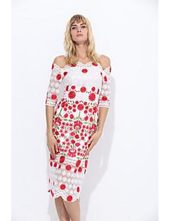 Kadın Parti Günlük/Sade Seksi Vintage Bandaj Kılıf Dantel Elbise Çiçekli Nakışlı,Kısa Kollu Askılı Midi Diz-boyu Pamuklu Polyester Yaz
