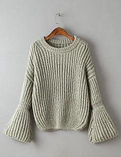Damen Standard Pullover-Lässig/Alltäglich Ausgehen Einfach Niedlich Solide Rundhalsausschnitt Langarm Wolle Baumwolle Frühling Herbst