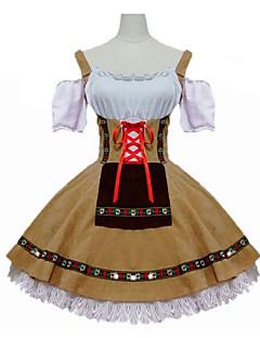 Oktoberfest Cosplay Servitør/servitrise Cosplay Kostumer Maskerade Festival/høytid Halloween-kostymer Hvit+Gul Andre Vintage Kjole
