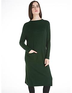 Damen Lang Pullover-Lässig/Alltäglich Einfach Solide Druck Rundhalsausschnitt Langarm Waschbär-Pelz Herbst Winter Dick Mikro-elastisch