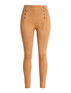 Feminino Sensual Simples Cintura Alta Micro-Elástica Justas/Skinny Chinos Calças,Delgado Skinny Sólido