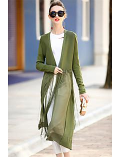 Damen Solide Gestreift Einfach Lässig/Alltäglich Trench Coat,V-Ausschnitt Herbst Lange Ärmel Lang Baumwolle Polyester