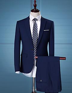 メンズ パーティー カジュアル/普段着 ワーク スーツ,シンプル ストリートファッション ノッチドラペル ソリッド レギュラー コットン 長袖
