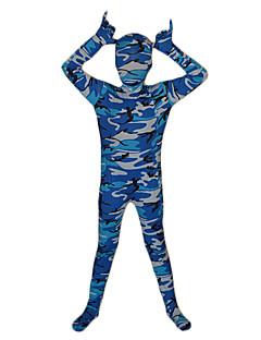全身タイツ 忍者 イベント/ホリデー ハロウィーンコスチューム ブルー プリント 全身タイツ 子供用 ライクラ