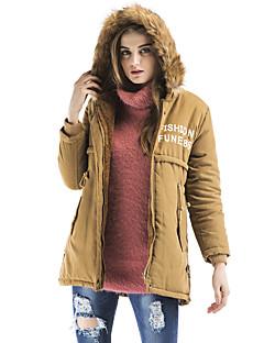 Damen Gefüttert Mantel,Standard Retro Street Schick Anspruchsvoll Ausgehen Lässig/Alltäglich Druck Buchstabe-PolyesterPolyester