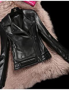 אחיד צווארון חולצה פשוט יום יומי\קז'ואל ז'קטים מעור נשים,חורף שרוול ארוך קצר Goatskin