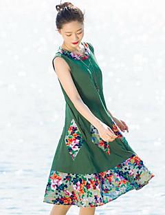 Kadın Günlük/Sade Çan Elbise Solid Desen Nakışlı,Kolsuz Yuvarlak Yaka Midi Keten Bahar Yaz Normal Bel Mikro-Esnek Orta