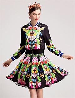 Damen Blumen Einfach Lässig/Alltäglich T-Shirt-Ärmel Rock Anzüge,Rundhalsausschnitt Herbst Lange Ärmel