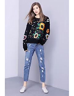 Damer Simpel I-byen-tøj Normal Pullover Trykt mønster,Rund hals Langærmet Polyester Efterår Vinter Medium Mikroelastisk