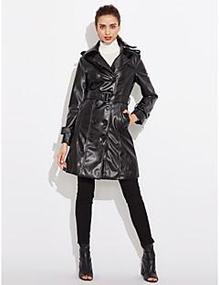 Kadın Orta PU Uzun Kollu Çentik Yaka,Siyah Kış Solid Vintage / Sokak Şıklığı / Punk & Gotik Dışarı Çıkma / Günlük/Sade / Çalışma-Kadın