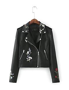 Damen Solide Einfach Sport Ausgehen Lederjacken,Gekerbtes Revers Frühling Herbst Lange Ärmel Standard Polyester Stickerei