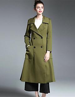 여성 솔리드 프린트 셔츠 카라 긴 소매 코트,단순한 캐쥬얼/데일리 긴 폴리에스테르 스판덱스 가을