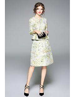 Damen Solide Blumen Einfach Lässig/Alltäglich T-Shirt-Ärmel Rock Anzüge,Rundhalsausschnitt Herbst Halbe Ärmel