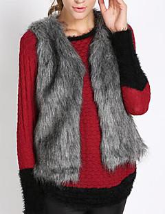Dames Eenvoudig Vintage Winter Vest,Grote maten Casual/Dagelijks Werk Effen Kleurenblok Ronde hals Mouwloos Kort Imitatiebont