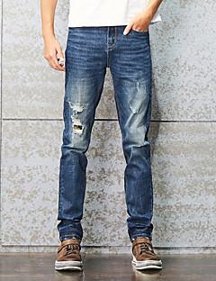 Herren Einfach Mittlere Hüfthöhe Mikro-elastisch Jeans Gerade Schlank Hose,Ripped Patchwork Solide