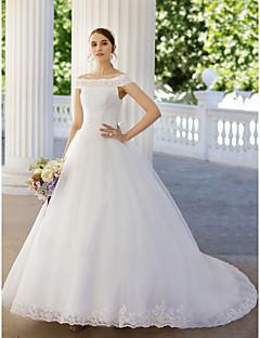 נשף שובל קתדרלה טול שמלת חתונה עם חרוזים אפליקציות על ידי AMGAM