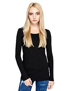 Damen Standard Pullover-Ausgehen Lässig/Alltäglich Einfach Street Schick Solide Rundhalsausschnitt Langarm Baumwolle Polyester Herbst