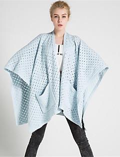 Damen Lang Strickjacke-Lässig/Alltäglich Einfach Solide Druck V-Ausschnitt Halbe Ärmel Wolle Baumwolle Polyester Herbst Winter Dick