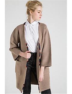 Damen Lang Strickjacke-Lässig/Alltäglich Einfach Solide Druck V-Ausschnitt Langarm Wolle Baumwolle Polyester Herbst Winter Dick
