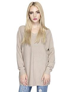 Damen Standard Pullover-Ausgehen Lässig/Alltäglich Einfach Street Schick Solide V-Ausschnitt Langarm Baumwolle Nylon Herbst Winter Dünn