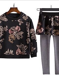 Mädchen Sets Blumen Baumwolle Polyester Herbst Lange Ärmel Kleidungs Set