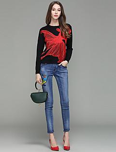 レディース ストリートファッション ミッドライズ スリム マイクロエラスティック スリム パンツ 刺繍 ソリッド