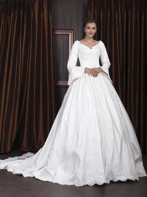 Lanting vestido de fiesta novia petite / tallas grandes de la boda del tren del vestido-capilla de satén con cuello en V