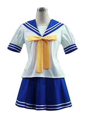 קיבל השראה מ כוכב המזל Izumi Konata אנימה תחפושות קוספליי חליפות קוספליי / תלבושות לבית הספר טלאים לבן / כחול קצר עליון / חצאית / קשר
