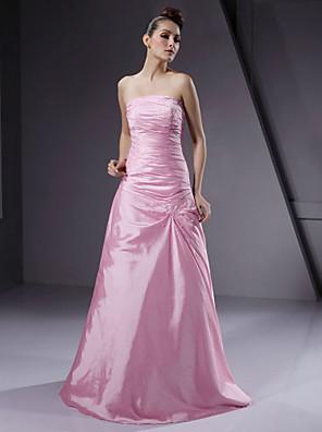 Lanting Bride® עד הריצפה טפטה נשרך שמלה לשושבינה - גזרת A / נסיכה סטרפלס פלאס סייז (מידה גדולה) / פטיט עם חרוזים / בד נשפך בצד