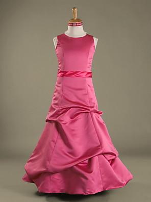 Lanting Bride® Földig érő Szatén Junior koszorúslány ruha A-vonalú / Hercegnő Ékszer Természetes val velHosszú szoknya / Pántlika /