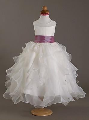 Lanting Bride Plesové šaty Na zem Šaty pro květinovou družičku - Organza / Satén Bez rukávů Kopeček sKorálky / Perličky / Šerpa / Stuha /