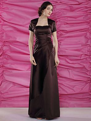 Tube / kolonne Plusstørrelse / Petite Kjole til brudens mor - Wrap er inkluderet Gulvlang Kortærmet Satin - Perler / Sidedrapering