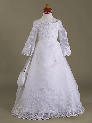 Lanting Bride A-Linie / Princess Na zem Šaty pro květinovou družičku - Organza / Satén Dlouhý rukáv Do V s Aplikace / Korálky / Volánky