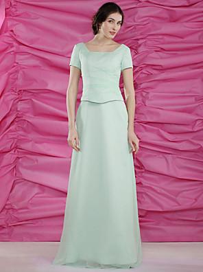 Tubinho Tamanhos Grandes / Mignon Vestido Para Mãe dos Noivos Longo Manga Curta Chiffon - Miçangas / Drapeado Lateral