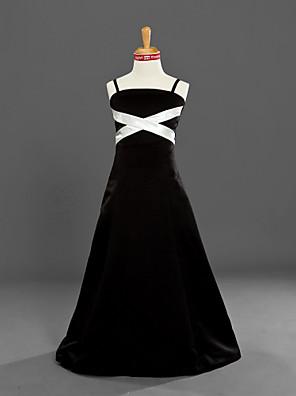 Lanting Bride® Földig érő Szatén Junior koszorúslány ruha A-vonalú / Hercegnő Spagettipánt Természetes val vel Pántlika / szalag